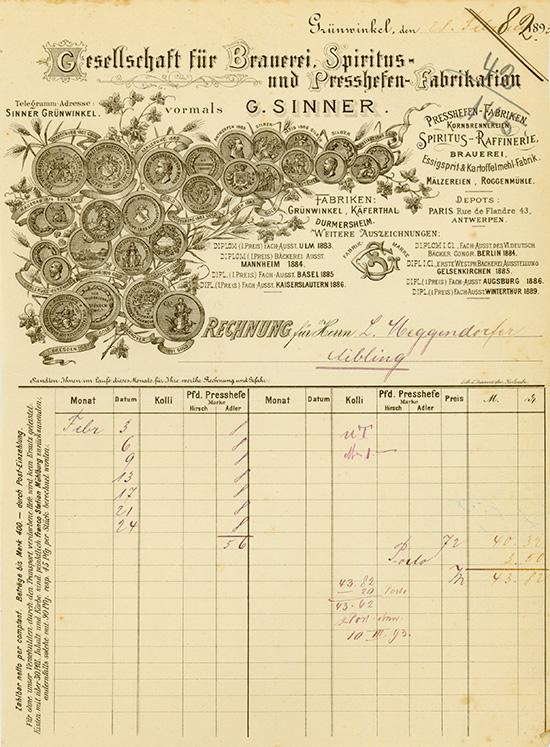 Gesellschaft für Brauerei, Spiritus- und Presshefen-Fabrikation vormals G. Sinner