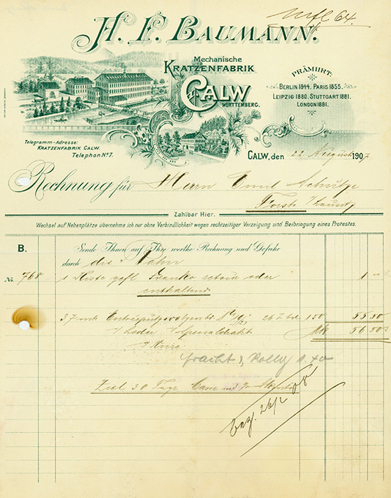 H. F. Baumann, Mechanische Kratzenfabrik [2 Stück]