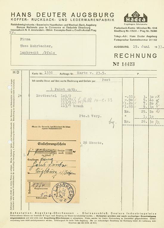 Hans Deuter Augsburg, Koffer-, Rucksack- und Lederwarenfabrik