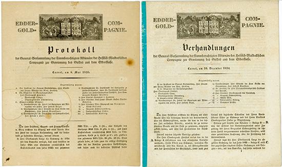 Hessisch-Waldeckische Compagnie zur Gewinnung des Goldes aus dem Edder-Flusse [2 Stück]
