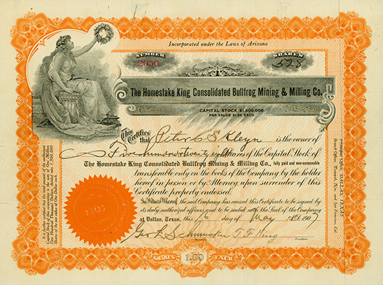 Homestake King Consolidated Bullfrog Mining & Milling Co.