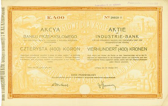 Industrie-Bank für das Königreich Galizien und Lodomerien samt dem Grossherzogtume Krakau