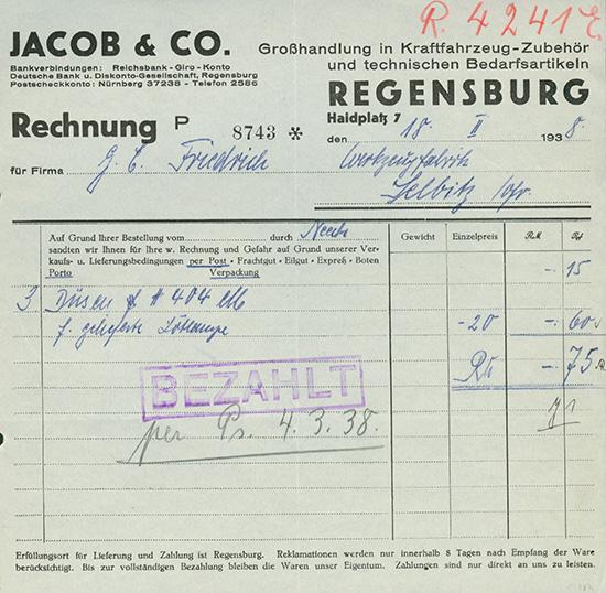 Jacob & Co., Großhandlung in Kraftfahrzeug-Zubehör und technischen Bedarfsartikeln