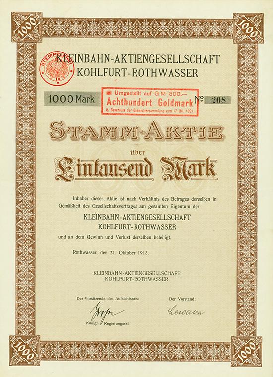 Kleinbahn-AG Kohlfurt-Rothwasser