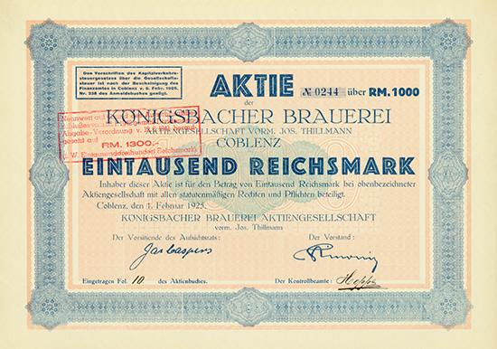 Königsbacher Brauerei Aktiengesellschaft vorm. Jos. Thillmann