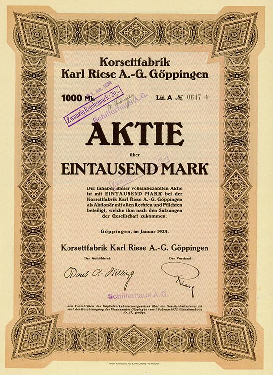 Korsettfabrik Karl Riese AG Göppingen
