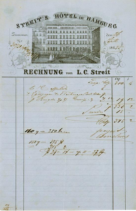 L. C. Streit / Streit's Hotel in Hamburg [2 Stück]
