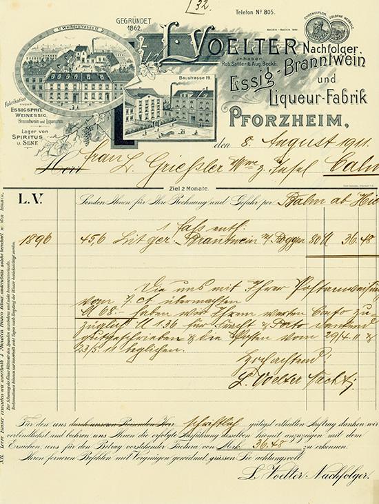 L. Voelter Nachfolger, Essig-Branntwein und Liqueur-Fabrik