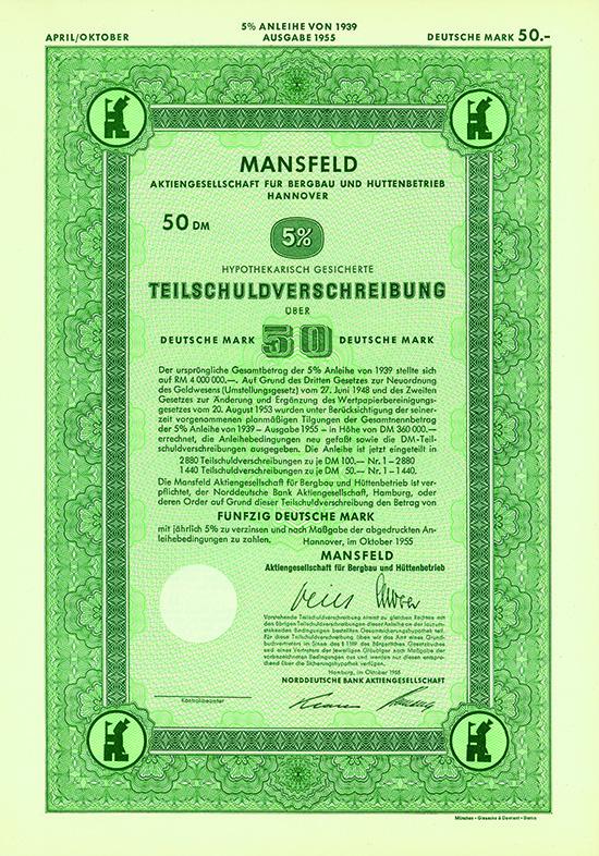 Mansfeld Aktiengesellschaft für Bergbau und Hüttenbetrieb [2 Stück]