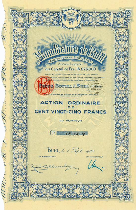 Manufacture de Buhl anciennement E. Rogelet