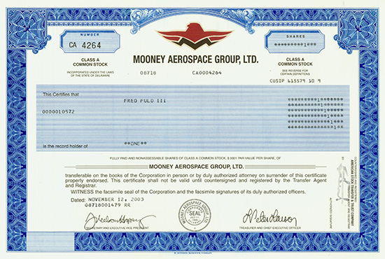 Mooney Aerospace Group, Ltd.