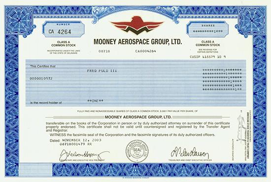 Mooney Aerospace Group, Ltd.