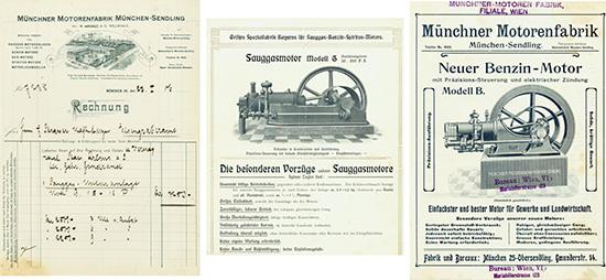 Münchner Motorenfabrik München-Sendling [3 Stück]