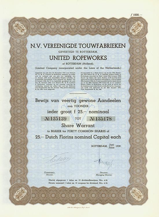 N.V. Vereenigde Touwfabrieken / United Ropeworks