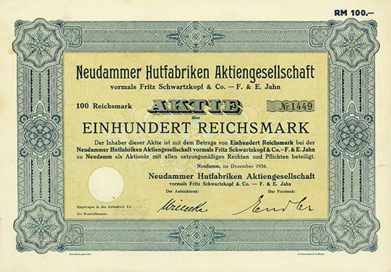 Neudammer Hutfabriken AG vormals Fritz Schwartzkopf & Co. - F. & E. Jahn