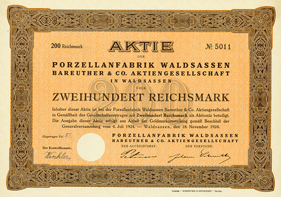 Porzellanfabrik Waldsassen Bareuther & Co. AG