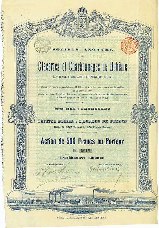 S.A. des Glaceries et Charbonnages de Boheme (ancienne Firme Andreas Ziegler's Sohn)