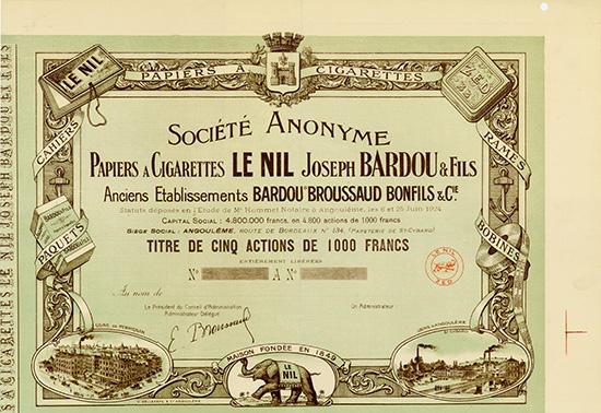 S.A. Papiers a Cigarettes LE NIL Joseph Bardou & Fils Anciens Etablissements Bardou Broussaud Bonfils & Cie.