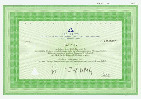 SECURENTA Göttinger Immobilien und Vermögensmanagement AG