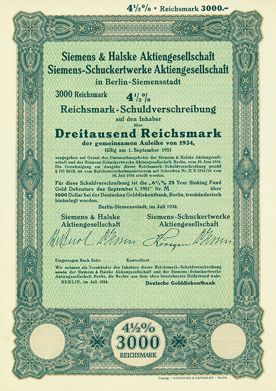 Siemens & Halske AG + Siemens-Schuckertwerke AG