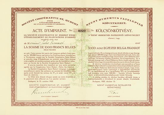 Societe Cooperative St. Hubert pour l'Etablissement de Plantations d'Arbres / Szent Hubertus Fatelepito Szövetkezet
