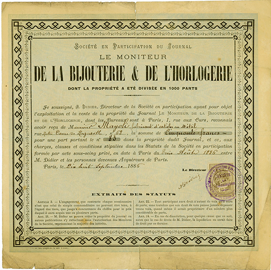 Societe en Participation du Journal le Moniteur de la Bijouterie & de l'Horlogerie