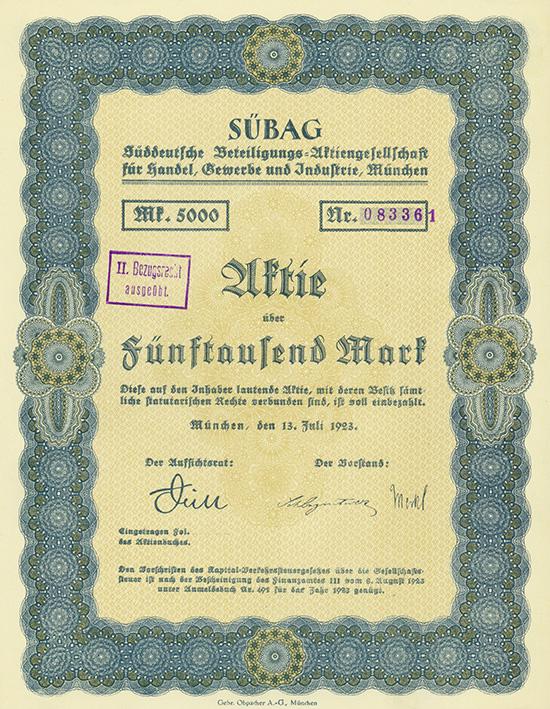 SÜBAG Süddeutsche Beteiligungs-AG für Handel, Gewerbe und Industrie