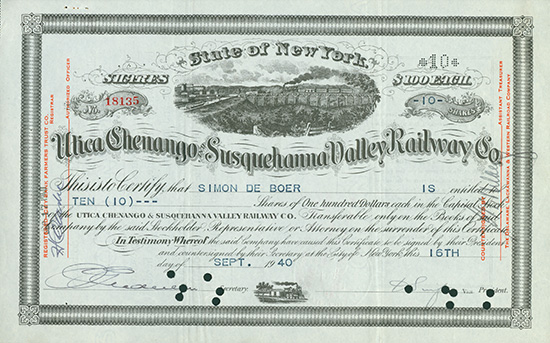 Utica, Chenango and Susquehanna Valley Railway Co.