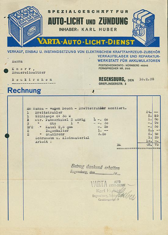 VARTA-Auto-Licht-Dienst