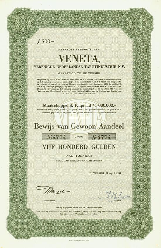 VENETA, Verenigde Nederlandse Tapijtindustrie [2 Stück]