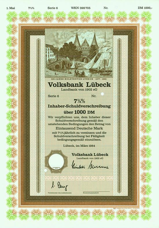 volksbank l beck landbank von 1902 eg scriposale marktplatz f r historische wertpapiere. Black Bedroom Furniture Sets. Home Design Ideas