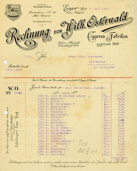 Wilh. Osterwald, Cigarren-Fabriken