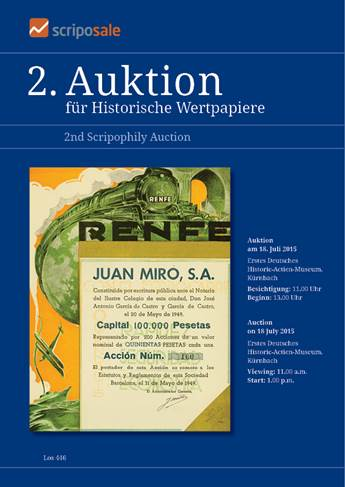 Cover Auction catalog 2nd Auction
