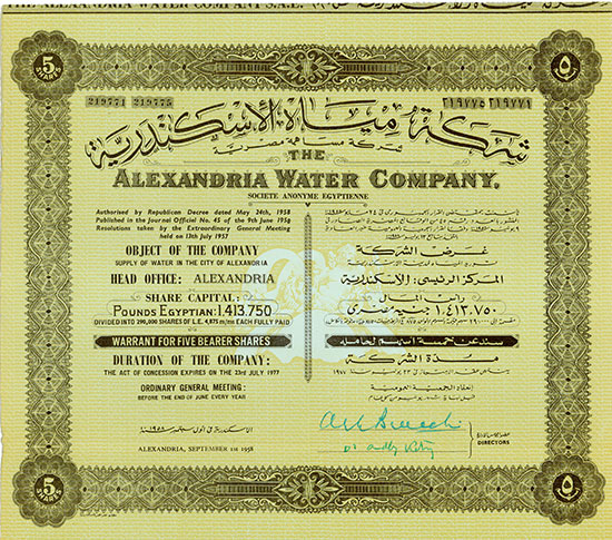 Alexandria Water Company, Societe Anonyme Egyptienne