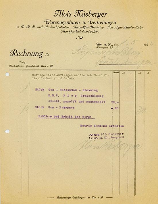 Alois Käsberger: Narco-Gas-Browning, Narco-Gas-Pistolenstöcke, Nico-Gas-Scheintodwaffen