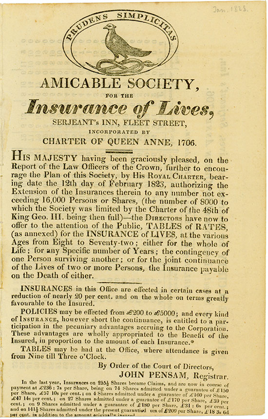 Amicable Society for the Insurance of Lives, Serjeant's Inn, Fleet Street, Incorporated by Charter of Queen Anne, 1706