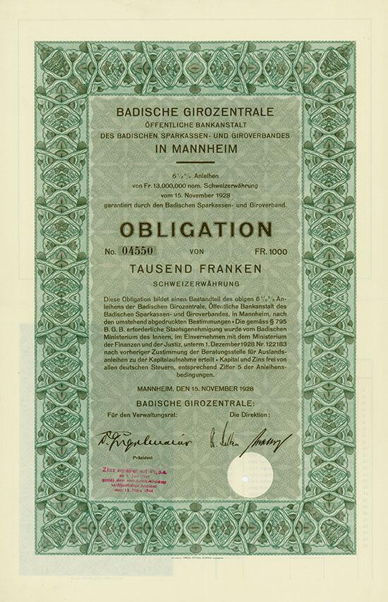 Badische Girozentrale, Öffentliche Bankanstalt des Badischen Sparkassen- und Giroverbandes