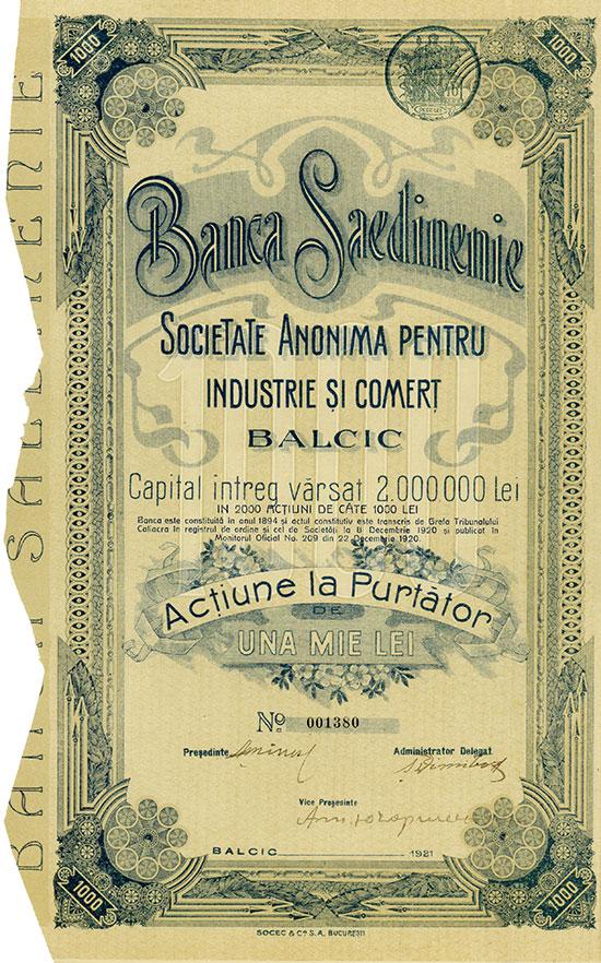 Banca Saedinenie Societate Anonima Pentru Industrie si Comert Balcic
