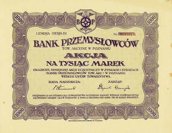 Bank Przemysłowców Tow. Akcyjna w Poznaniu