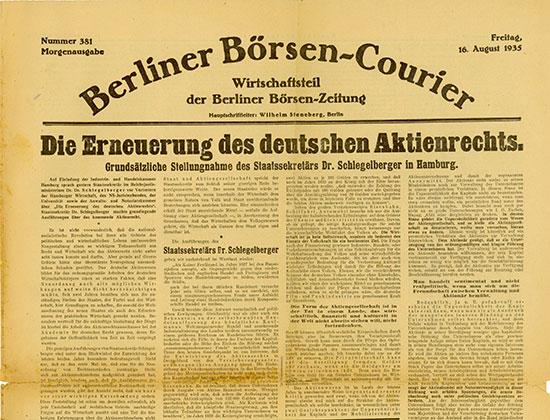 Berliner Börsen-Courier - Wirtschaftsteil der Berliner Börsen-Zeitung