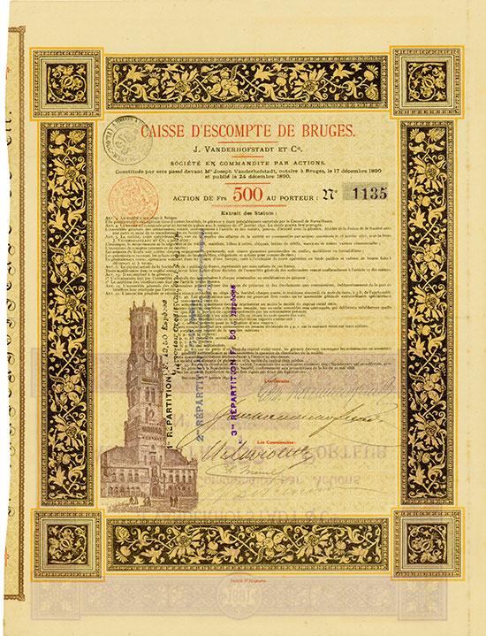 Caisse d'Escompte de Bruges J. Vanderhofstadt et. Cie.