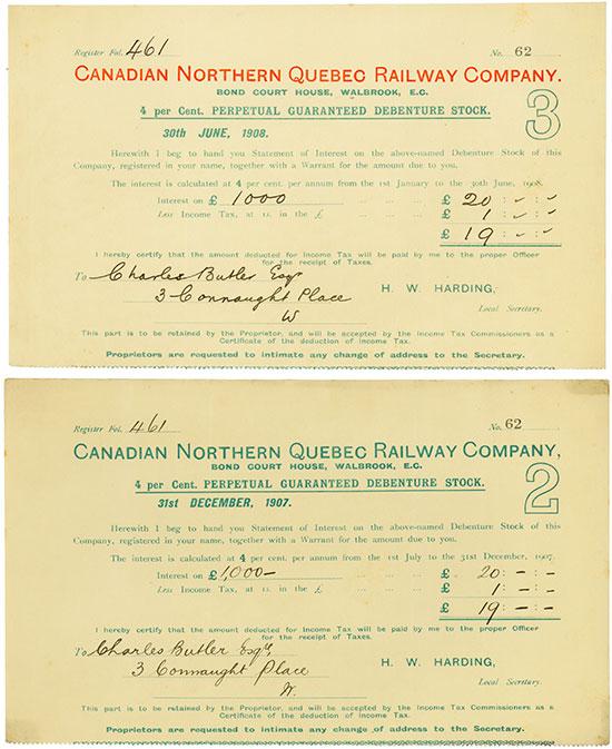 Canadian Northern Quebec Railway Company [2 Stück]