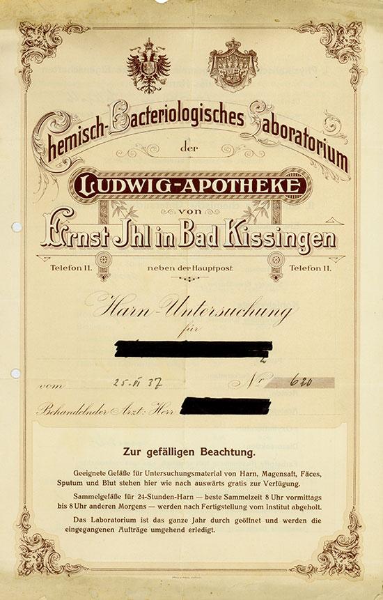 Chemisch-Bacteriologisches Laboratorium der Ludwig-Apotheke von Ernst Ihl in Bad Kissingen