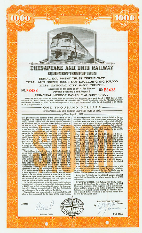 Chesapeake and Ohio Railway - Equipment Trust of 1963