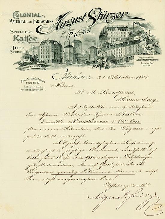 Colonial-Material und Farbwaren August Stürzer - Inhaber G. Wöhrle