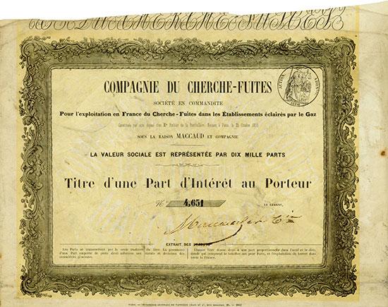 Compagnie du Cherche-Fuites Soicété en Commandite Pour l'exploitation en France du Cherche-Fuites dans les Établissements éclairés par le Gaz