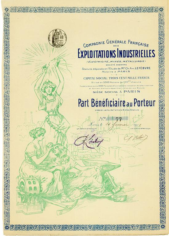 Compagnie Générale Française des Exploitations Industrielles (Électricité - Mines - Métallurgie)