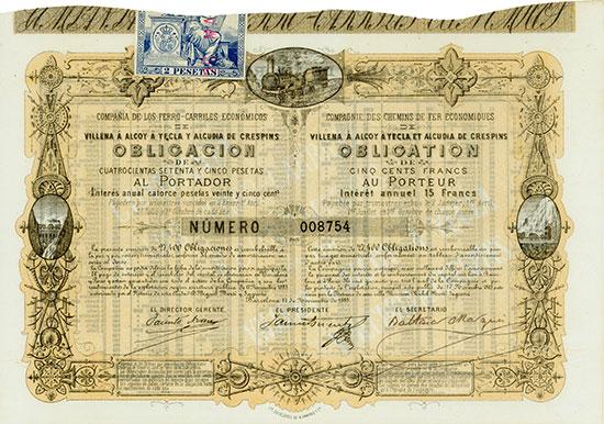 Compañia de los Ferro-Carriles Económicos de Villena á Alcoy á Yecla y Alcudia de Crespins / Compagnie des Chemins des Fer Économiques de Villena à Alcoy à Yecla et Alcudia de Crespins