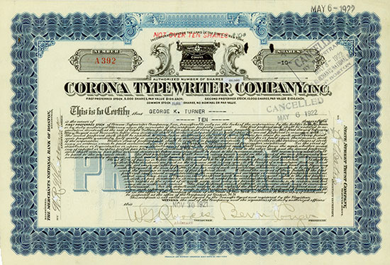 Corona Typewriter Company, Inc.