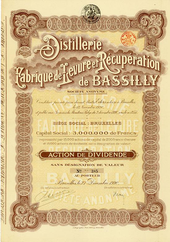 Distillerie Fabrique de Levure et Récupération de Bassilly Société Anonyme